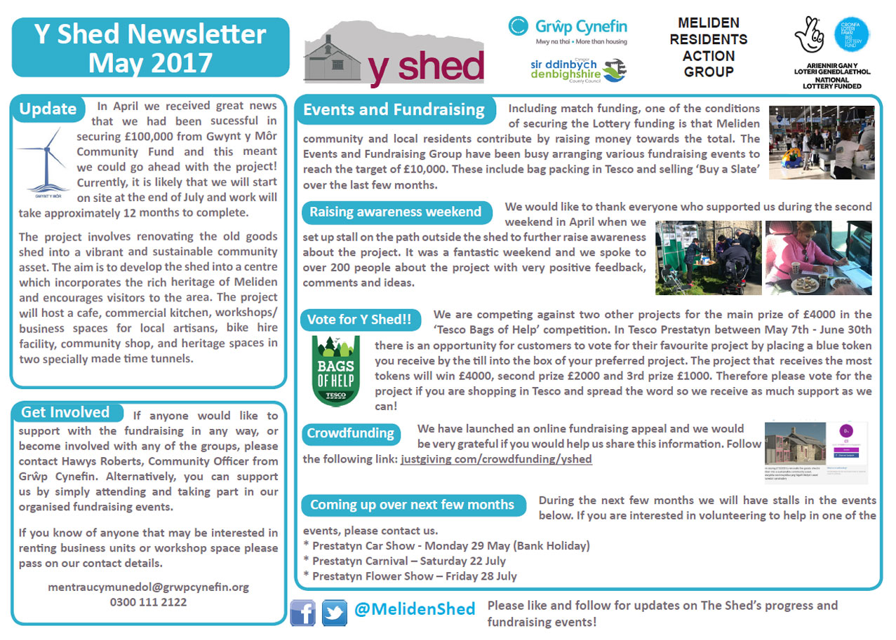Y Shed Newsletter May 2017